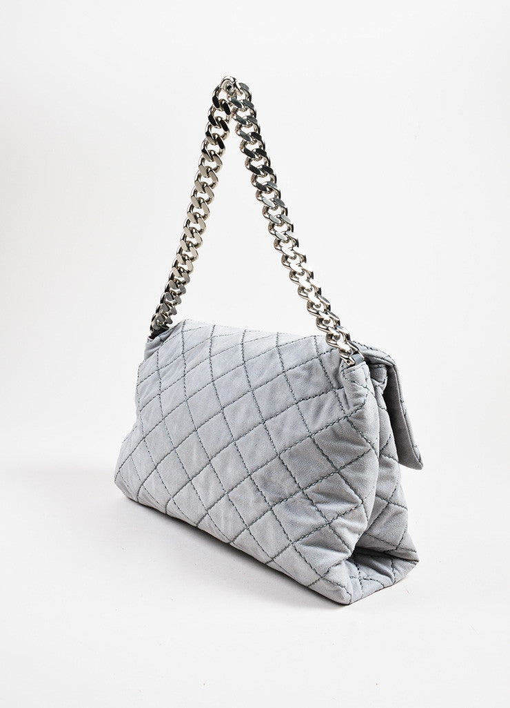 "Stella McCartney Grey Faux Suede Quilted Medium ""Beckett"" Flap Bag Sideview"