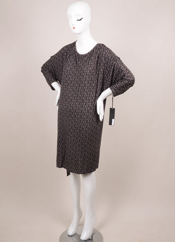 Thakoon New With Tags Grey and Black Jersey Rope Printed Dolman Sleeve Dress Sideview
