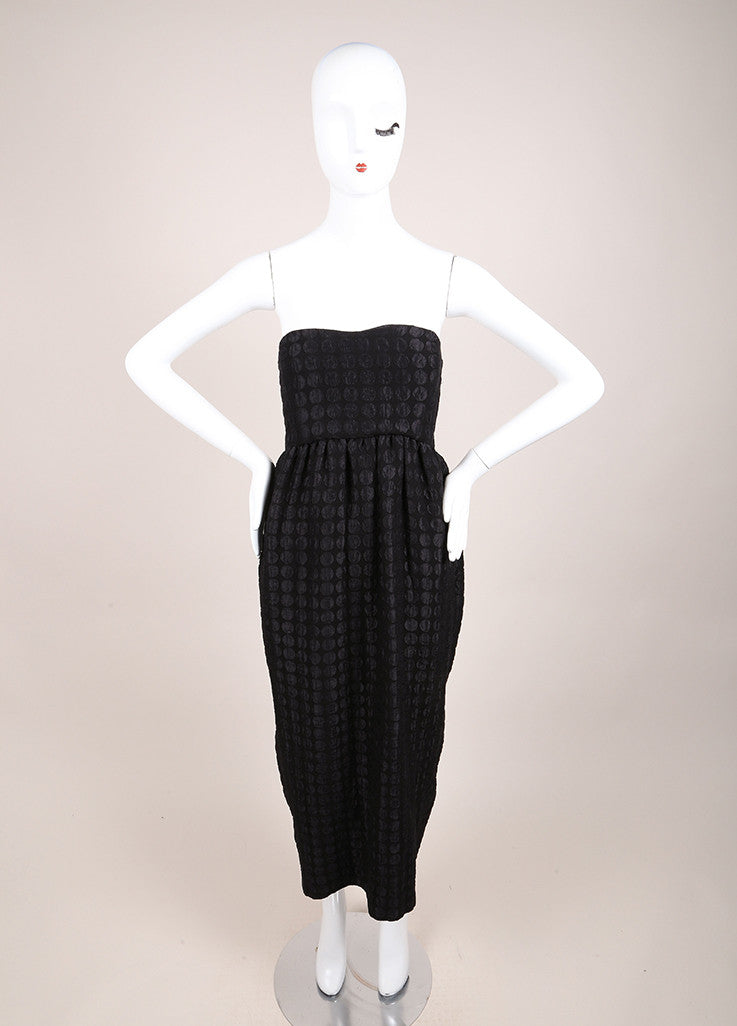 The Row New With Tags Black Polka Dot Strapless Silk and Wool Midi Dress Frontview