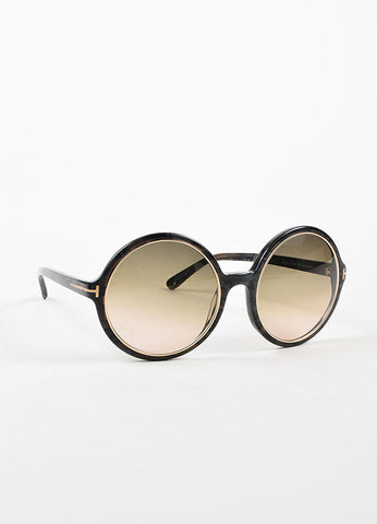"å´?ÌÜTom Ford Grey Mottled Gold Toned Trim ""Carrie"" Oversized Round Sunglasses Sideview"