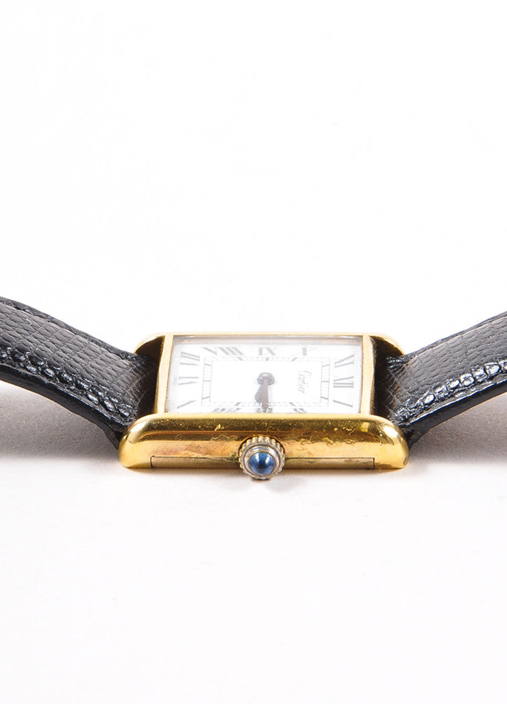 "Cartier 18K Gold Plated and Black Leather Strap ""Tank"" Automatic Watch Detail 2"