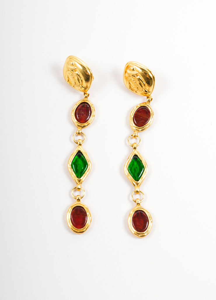 "Chanel Gold Toned, Red, and Green Gripoix ""Coco Chanel"" Drop Earrings Frontview"