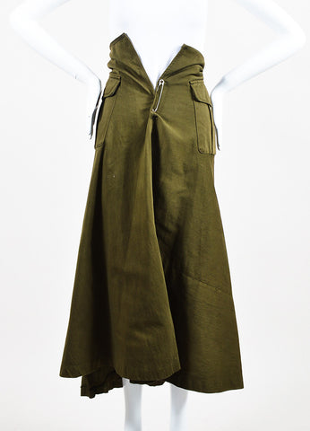 Comme des Garcons Army Green Pocketed Long A-Line Skirt Frontview