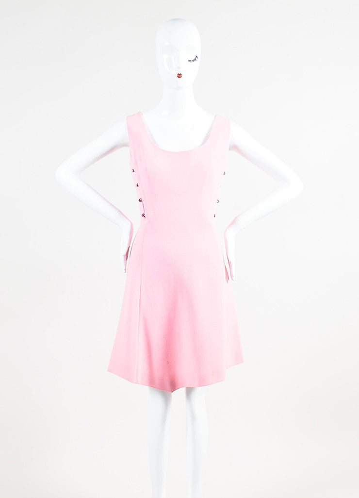 Vintage Light Pink Gianni Versace Crepe Knit Sleeveless A-Line Dress Frontview