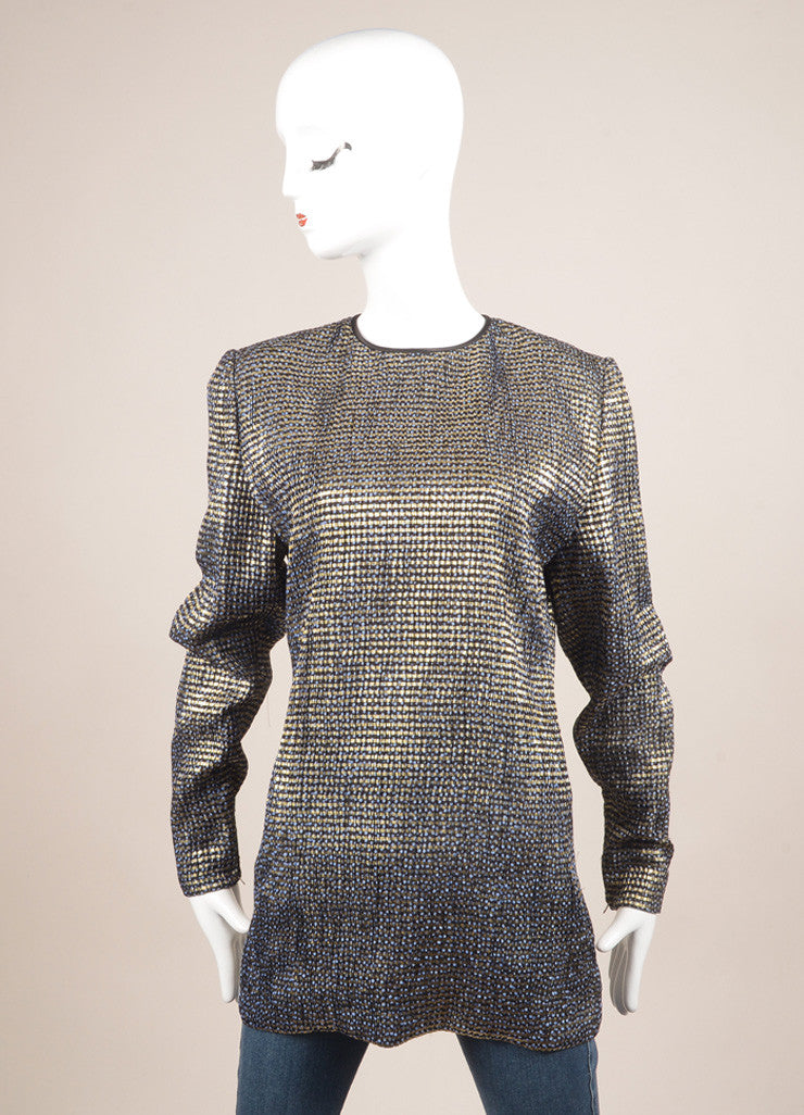 Vintage Navy Blue and Gold Metallic Patterned Long Sleeve Tunic Top Frontview