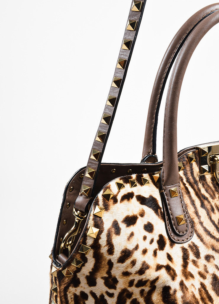 Valentino Brown, Tan, and Gold Leopard Print Pony Hair Rocktstud Handbag Detail 3