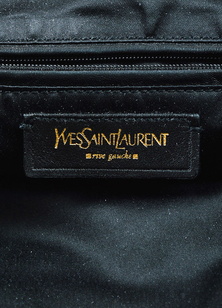 "Yves Saint Laurent Black Leather Stud and Zip Detail ""Medium Downtown"" Tote Brand"