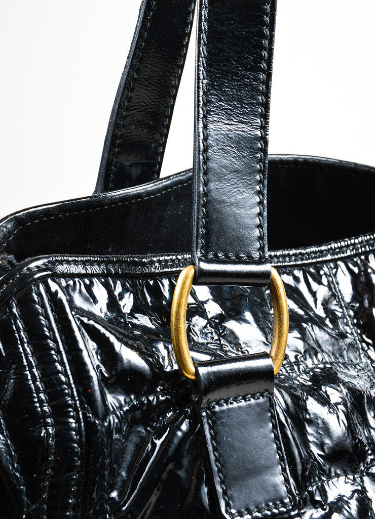 "Black Yves Saint Laurent Patent Leather Quilted Crocodile ""Downtown"" Tote Bag Detail 2"