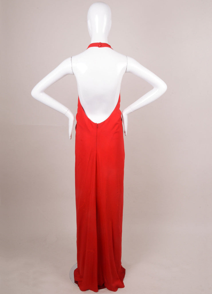 Scarlet Red Gathered Bust Long Evening Halter Gown