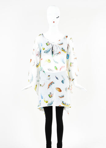 Roberto Cavalli White and Multicolor Feather Print Sheer Short Kaftan Frontview