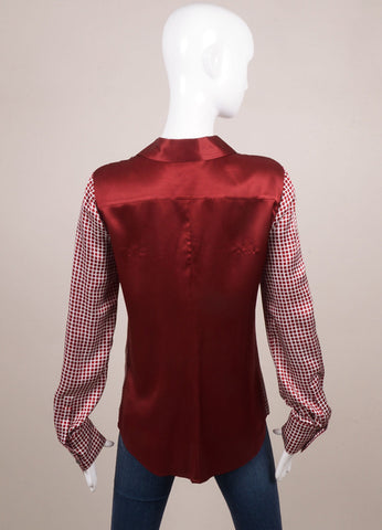 10 Crosby Derek Lam Dark Red and White Check Print Silk Long Sleeve Blouse Backview