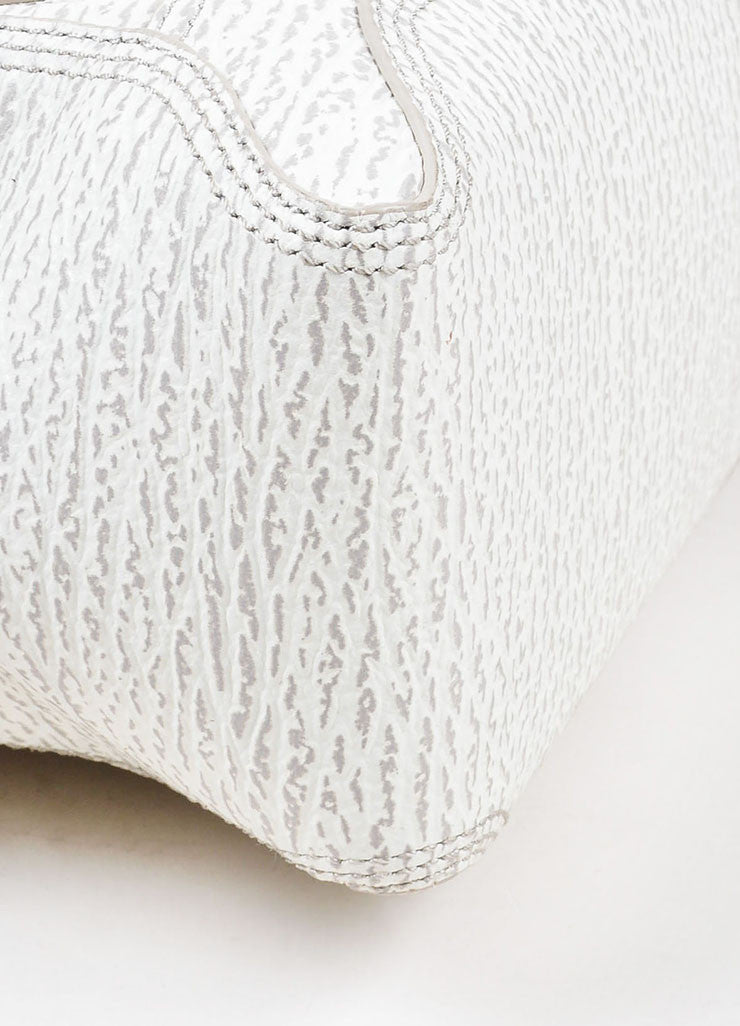 "3.1 Phillip Lim Cream and Grey Textured Leather Medium ""Pashli"" Satchel Bag Detail"