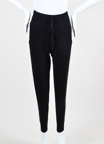 360Cashmere Black and Grey Cashmere Knit Drawstring Jogger Pants Frontview