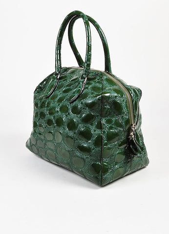Alaia Glossy Green Embossed Patent Leather Structured Double Handle Tote Bag Sideview