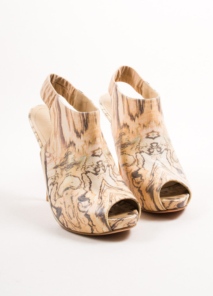 Alexander McQueen Cream Wood Grain Platform Slingback Sandals Frontview