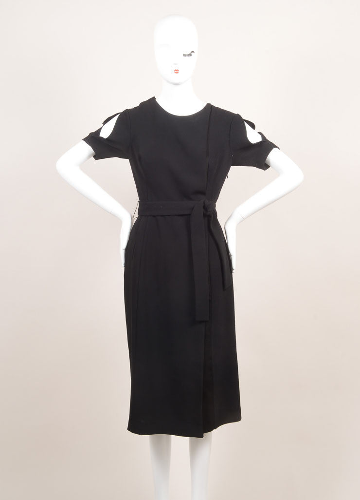 Altuzarra New With Tags Black Multi Texture Belted Short Sleeve Dress Frontview