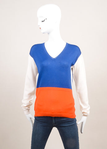 Altuzarra New With Tags Blue, Orange, and Cream Wool Colorblock Sweater Frontview