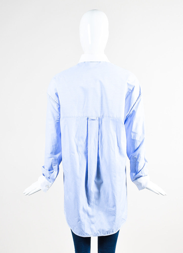 Balenciaga Blue and White Striped Oversized High Low Button Down Shirt backview