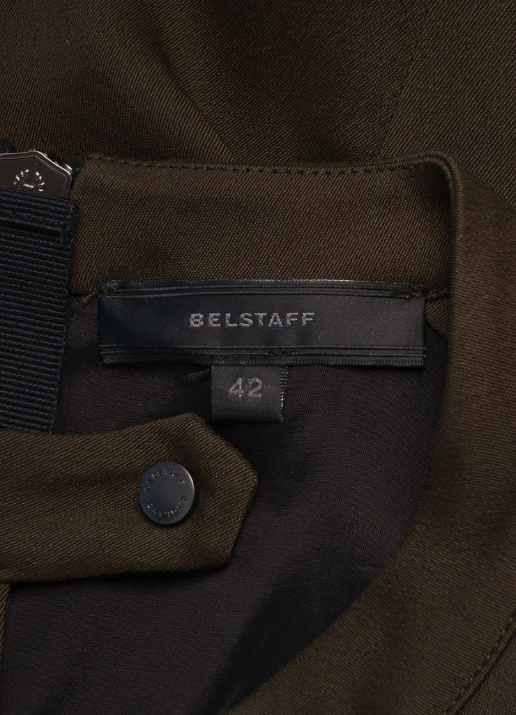 Belstaff Army Green and Black Woven Sleeveless Pleated Dress Brand