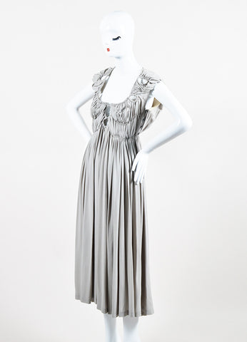 Bottega Veneta Grey Silk Ruched Pleated Cut Out Sleeveless Midi Dress Sideview
