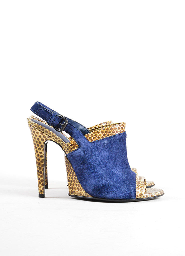Bottega Veneta Navy and Tan Snakeskin and Suede Leather Slingback Sandals Sideview