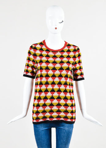 Red, Yellow, and Black Bottega Veneta Knit Diamond Print Short Sleeve Sweater Top Frontview