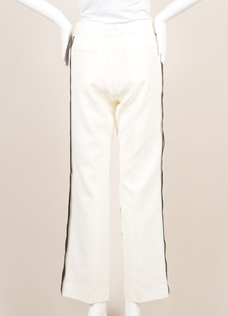 Celine White and Black Silk Sheer Overlay Wide Leg Trousers Backview