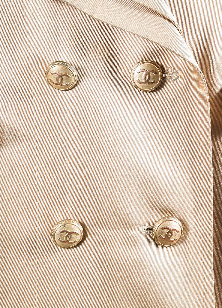 Nude Tan Chanel Silk Twill Double Breasted Trench Coat Detail