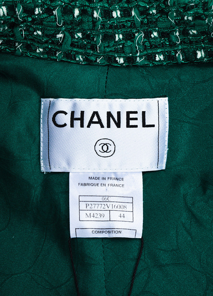 Green and White Chanel Tweed 'CC' Button Jacket Brand