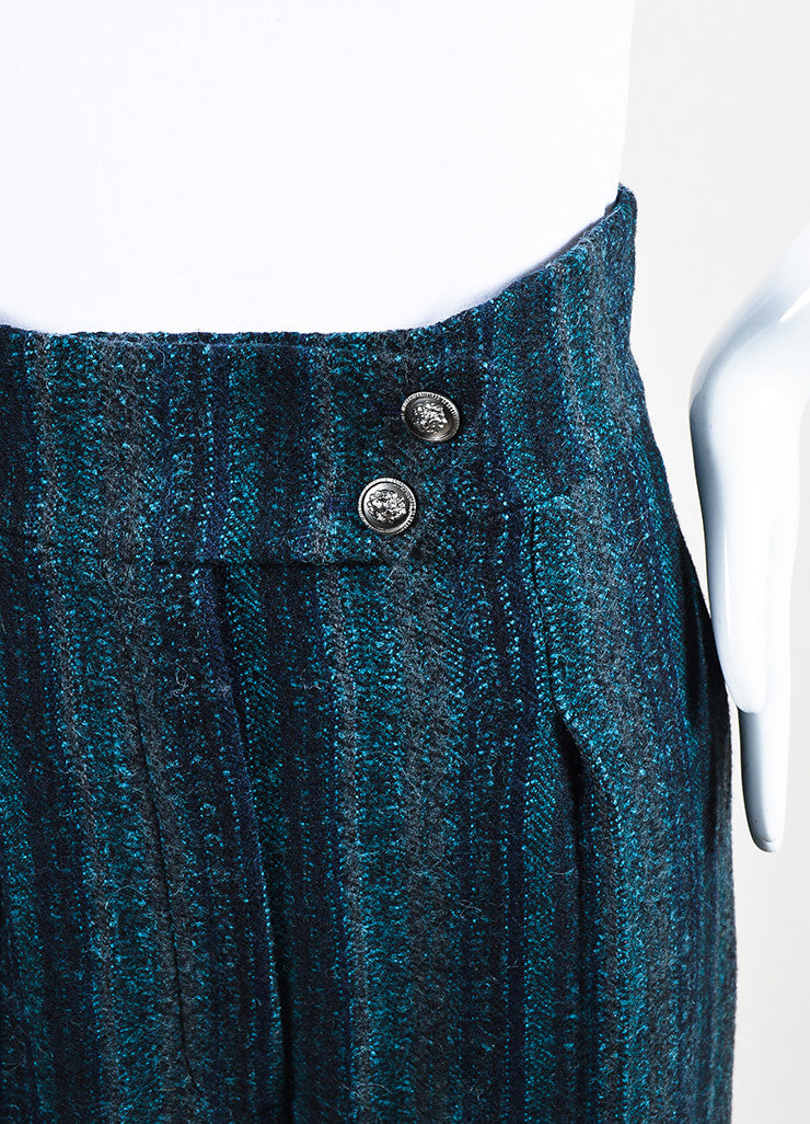 Chanel Navy Blue and Teal Wool Wide Leg Pants Detail