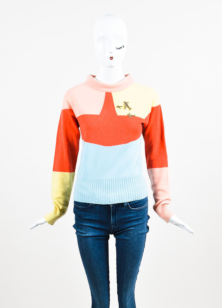 Chanel Blue, Pink, and Yellow Cashmere Colorblock Airplane Pin Sweater Frontview