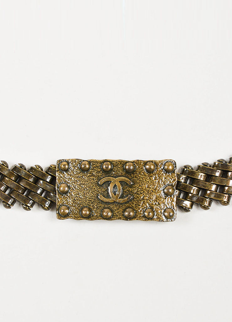 Bronze Toned Chanel Rectangle 'CC' Logo Buckle Chain Belt Brand