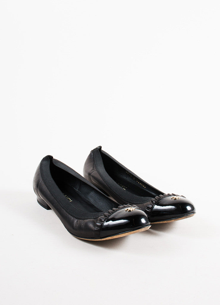 "Chanel Black Leather Ruffle Trim ""CC"" Cap Toe  Ballerina Flats Frontview"