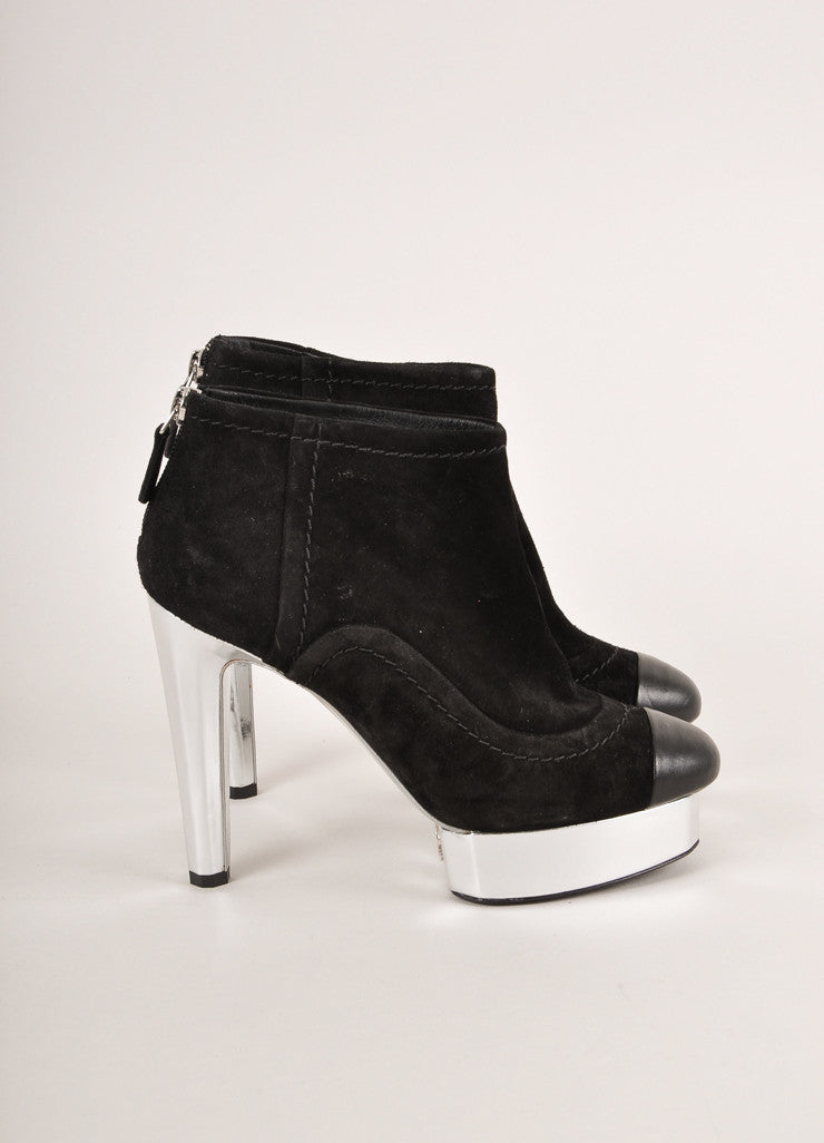 Chanel Black and Silver Metallic Suede Leather Cap Toe Heeled Ankle Booties Sideview