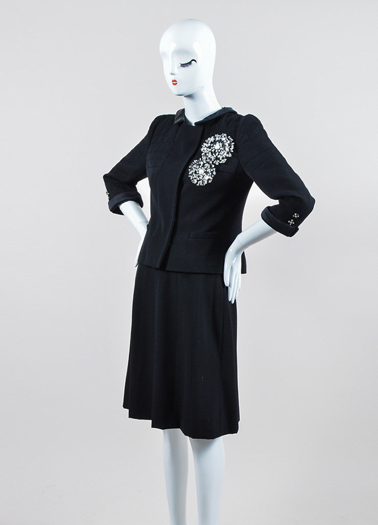 Black Chanel Wool and Silk Jacket and Skirt Suit  Sideview