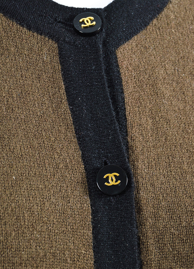 Chanel Brown and Black Wool 'CC' Button Long Sleeve Cardigan Sweater Detail