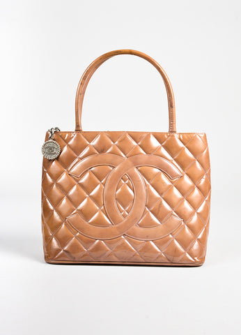 Chanel Camel Patent Leather Quilted 'CC' Medallion Tote Bag front