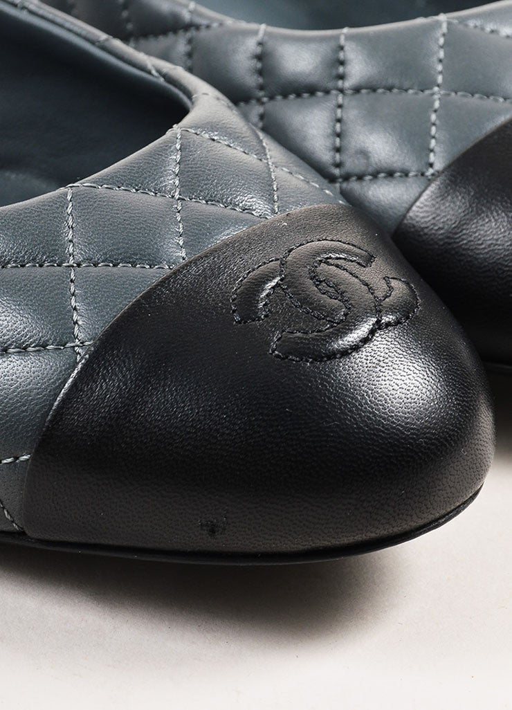 Grey and Black Chanel Lambskin Leather Quilted Cap Toe Ballerina Flats Detail