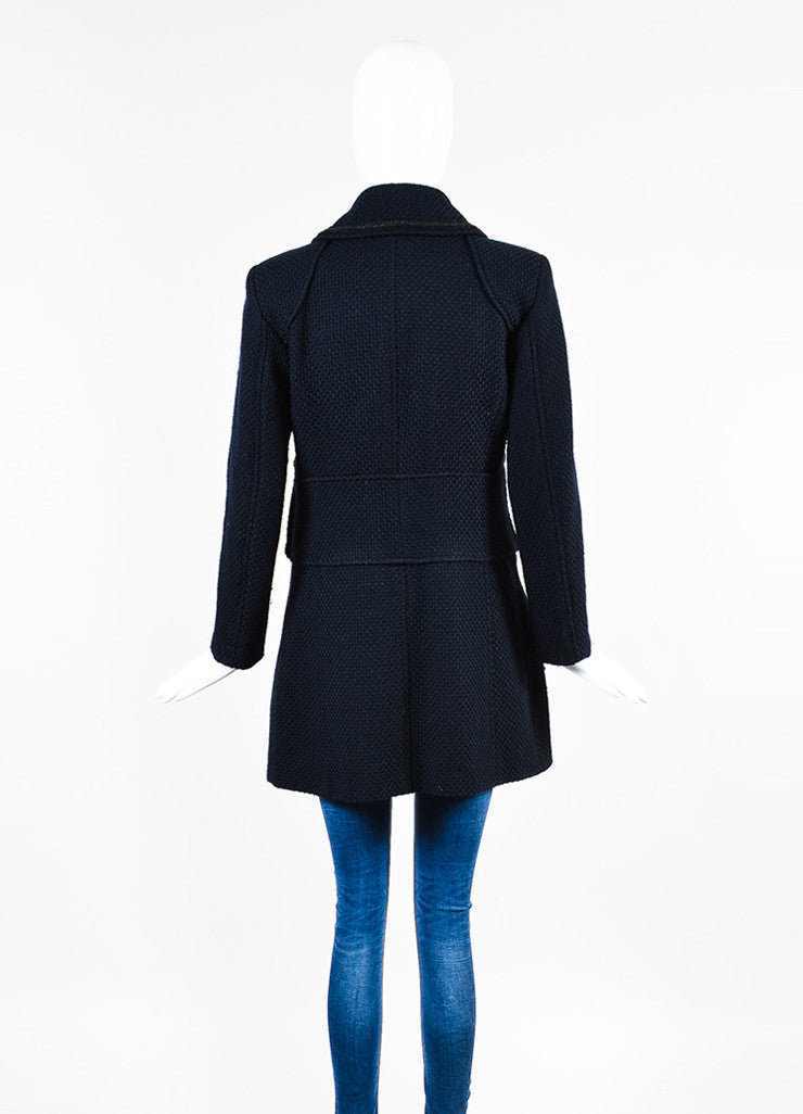 Chanel Navy and Black Woven Wool Tweed Trim Long Sleeve Coat Backview