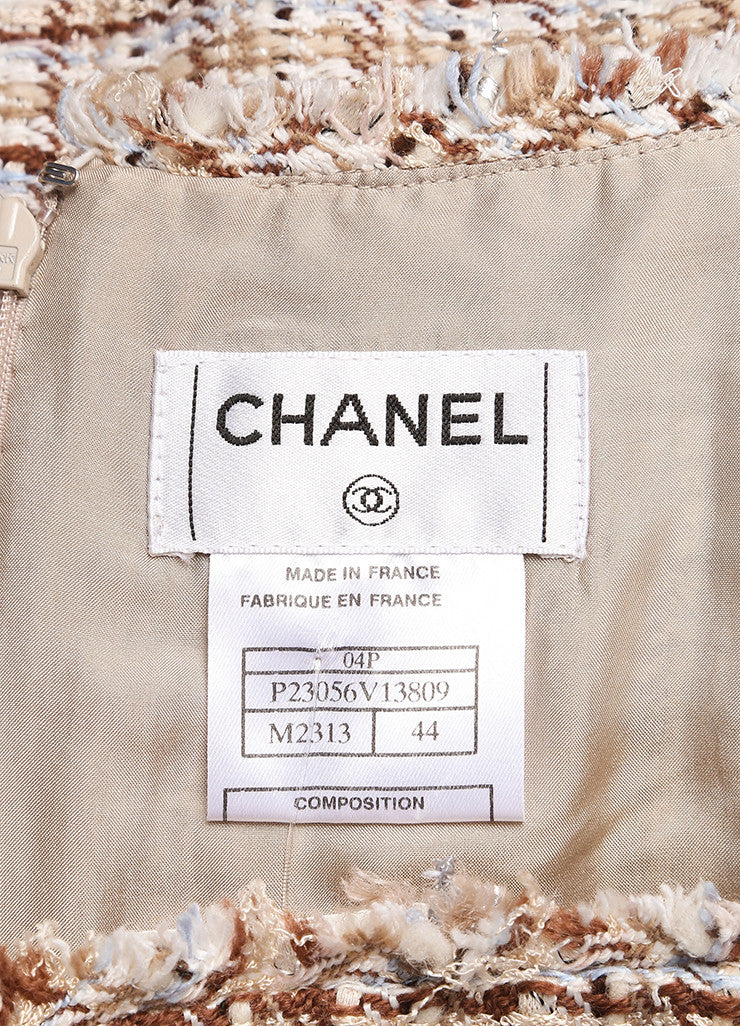 Chanel New With Tags Brown and Cream Silk and Wool Tweed Fringe Trim Skirt Suit Brand