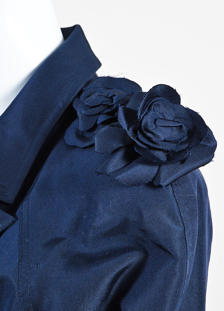Navy Blue Chanel Silk Camellia Applique Belted 'CC' Button Trench Coat Detail