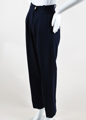 Chanel Navy Wool Straight Leg Trousers Sideview