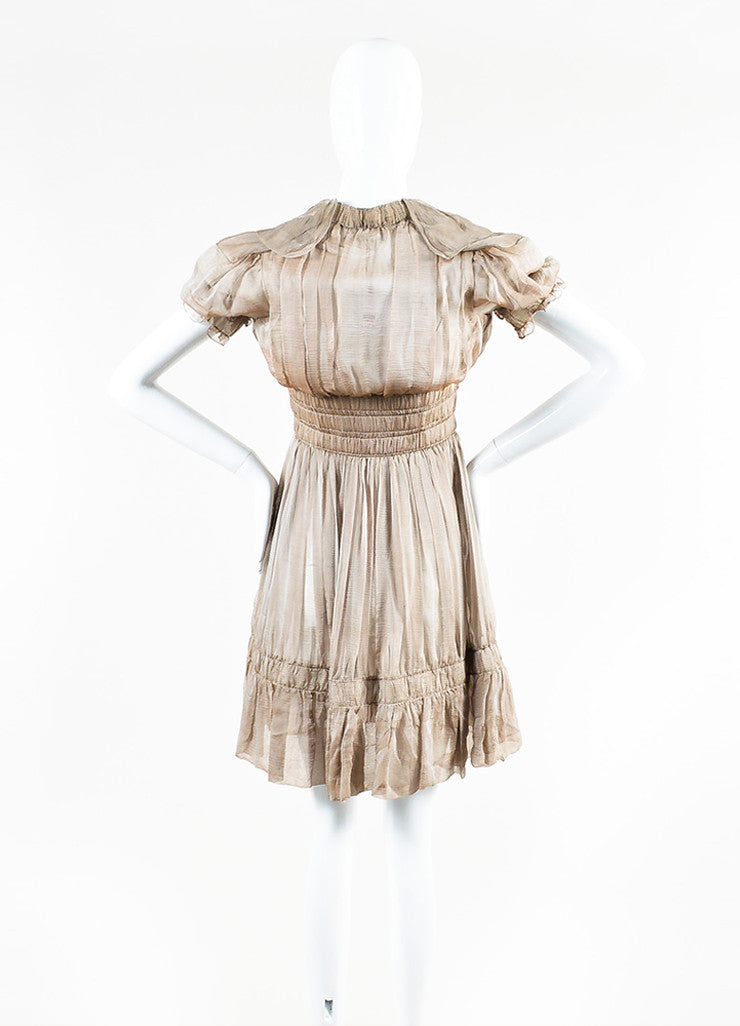 Chanel Sample Taupe Silk V-Neck Short Sleeve Ruffle Flare Hem Dress Backview