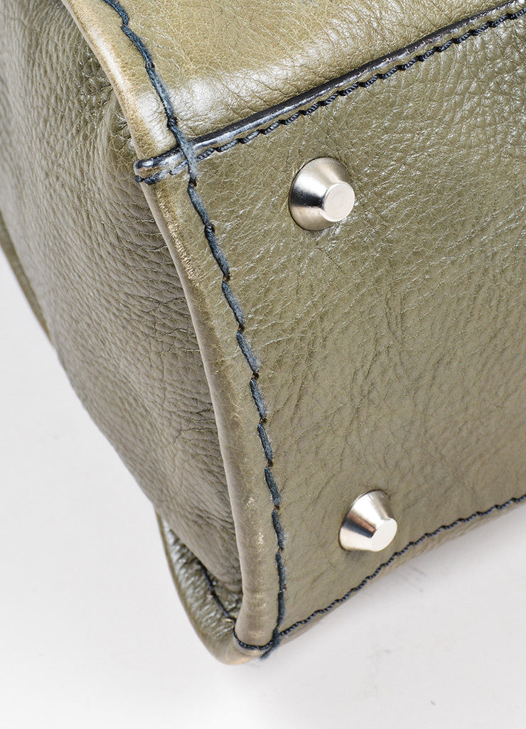 "Olive Green Chloe Leather ""Edith"" Zip Satchel Tote Bag Detail"