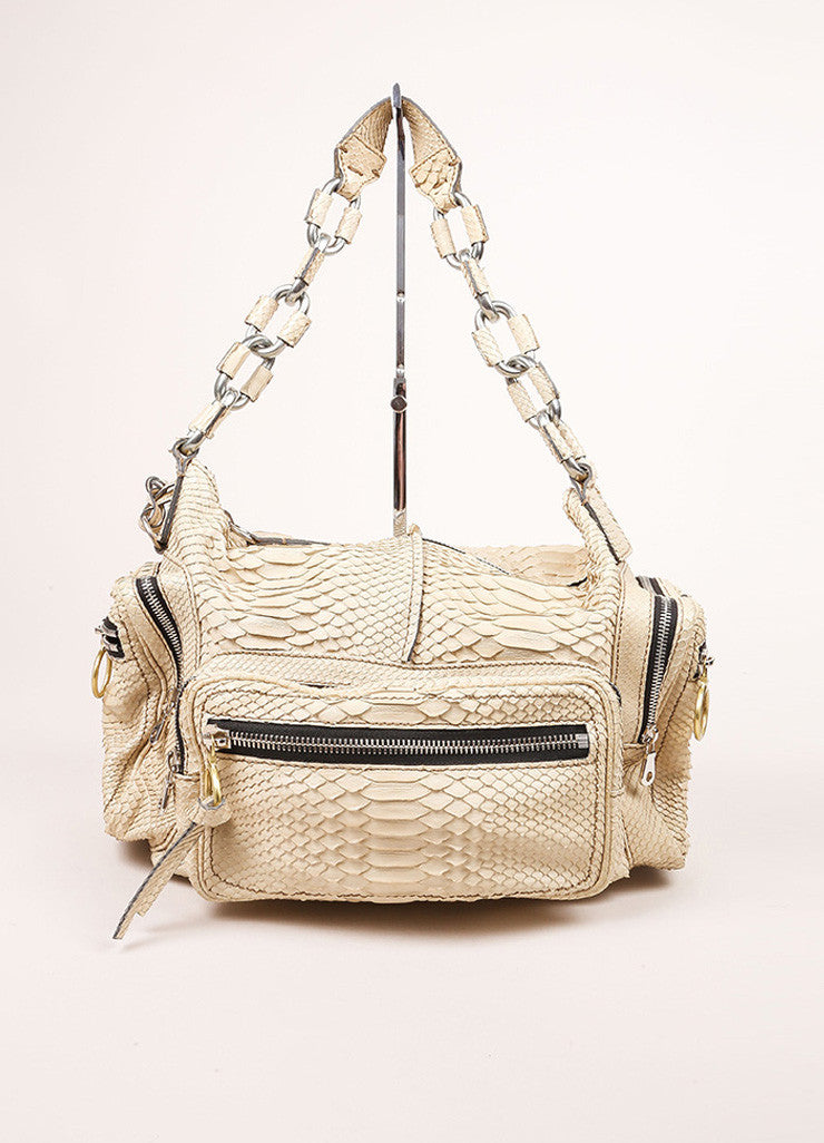 "Chloe Cream Python Leather ""Betty"" Chain Link Shoulder Bag Frontview"