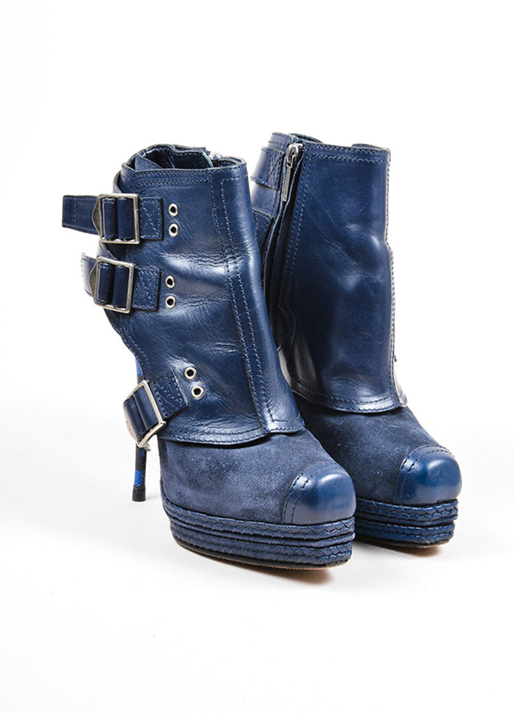 Blue Christian Dior Suede and Snakeskin Embossed Leather Stiletto Moto Boots Frontview