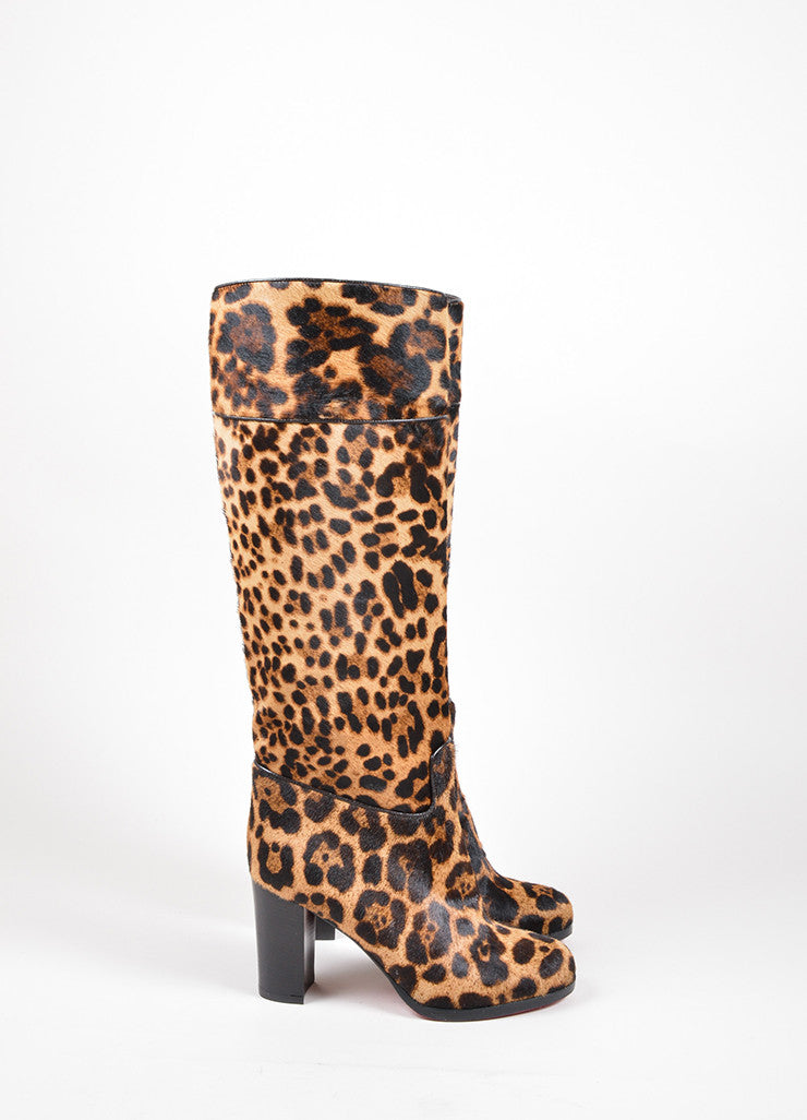 "Christian Louboutin Tan and Black Pony Hair Leopard ""Dartata"" Boots Sideview"
