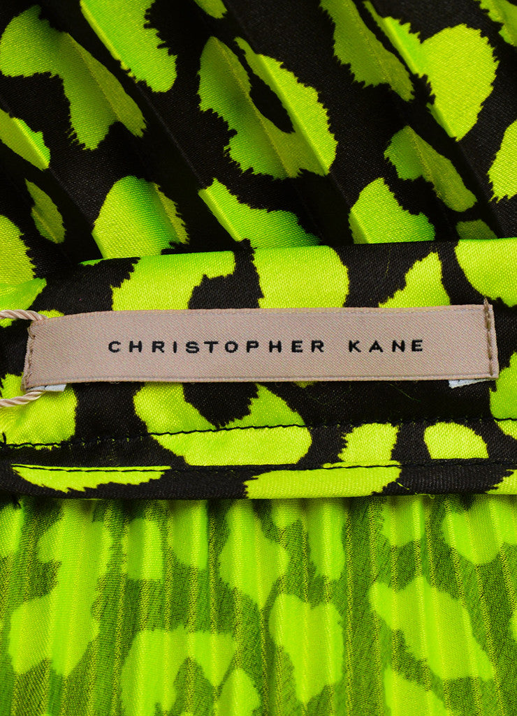 Christopher Kane  Neon Green and Black Lace Trim Pleated Satin Skirt Brand