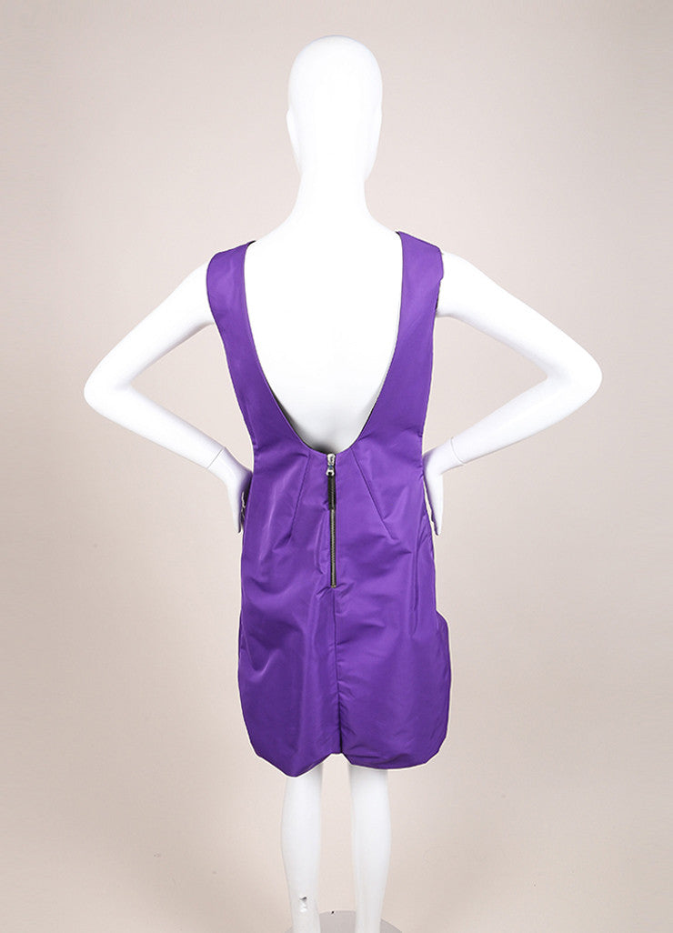 Dolce & Gabbana New With Tags Purple Sleeveless Bubble Hem Dress Backview