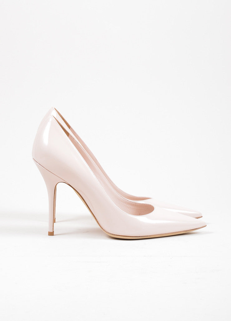 Rose Pink Christian Dior Patent Leather Pointed Toe Pumps Sideview